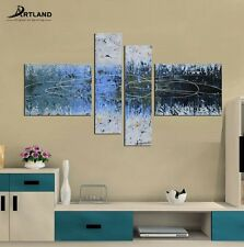 Framed Abstract Canvas Oil Painting 4PCS Hand Painted Wall Art for Living Room