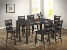 7 Pcs Counter Height Dining Set Table Side Chair Light Espresso Dining Room Home