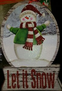 Christmas Home Decor Wall Hanging Sign Snowman Let it Snow crafting