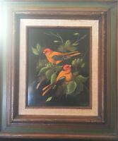 Vintage 60's Maria Lak Bird Painting Oil on  Panel Framed Signed Modernism