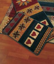 "Contemporary 22"" x 36"" Folklore Accent Rug Colorful Hearts & Stars Accent Rug"