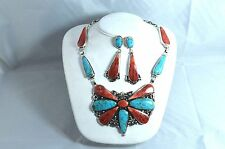 Native American Navajo Indian Jewelry SS Kingman & Spiny ButterFly Necklace Set
