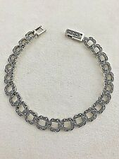 "Sterling Silver .925 ~ 8.5mm wide  7 1/2""  Square Link Marcasite Bracelet"