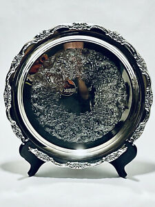 Fabulous Vintage International silver round silver plate tray