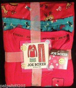 Joe Boxer Juniors' Christmas Dog Puppy Santa Paws Pajama / Sleepwear 3-Pc Set