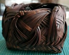 ANTIQUE JAPANESE BAMBOO IKEBANA BASKET HAND WOVEN LOVELY DESIGN