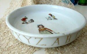 Antique Child's Porcelain Bowl With Alphabet Letters & Children Figures, Germany
