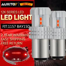 auxito Red 1157 BAY15D Car LED Tail Brake Stop Light Bulbs P21/5W 2357 12V-24V