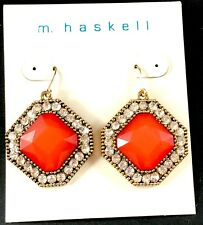 NWT MARIAM HASKELL GOLD-TONE CRYSTAL RHINESTONE CORAL ACRYLIC DANGLE EARRINGS