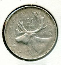 Weeda Canada 1954 SF silver quarter