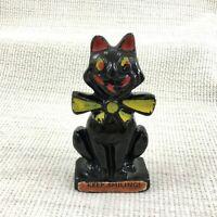 Antico Gatto Nero Vittoriano Bretby Ceramiche Figura Ornamento Keep Sorridente