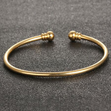 Wedding Jewelry Bangle Bracelet Gift Smooth Surface Opening Yellow Gold Gp