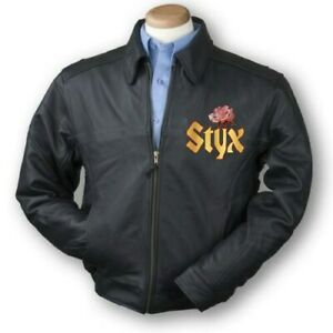 RARE Styx Beautiful rare Leather jacket all sizes and live 2 cd set