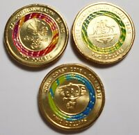 3 x 2018 Commonwealth Games $2 red, green & mascot Borobi circulated