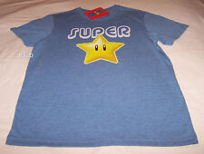 Nintendo Super Mario Super Star Mens Blue Marle Printed T Shirt Size XXL New