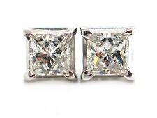0.40 CT Natural princess cut diamond stud earrings VS1/G 14K white gold