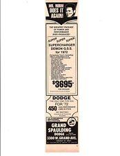 1972 SUPERCHARGED DEMON GSS / MR NORM GRAND SPAULDING DODGE  ~  ORIG DEALER AD