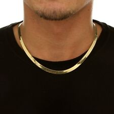 High Polished Herringbone Necklace Chain 14K Solid Yellow Gold 3.0mm x 24cm