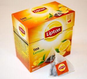 LIPTON Black Tea Lemon 6 x 20 bags= 120 pyramid tea bags sealed boxes