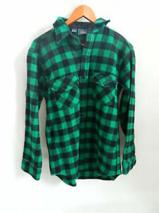 Vintage Green Black Checkered Woolrich Wool Heavy Shirt Size L Made in USA