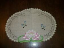 Art Deco Era Water Lily Embroidered Linen Doily Table Cover Cottage Chic Shabby
