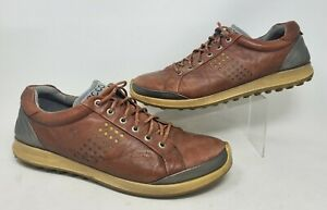 Ecco Yak Natural Motion Mens Brown Leather Spikeless Golf Shoes UK 46 US 12