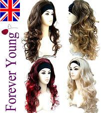 Ladies Long Wavy Half 3/4 Wig Fall Clip In Hair Piece Black Brown Blonde Wig