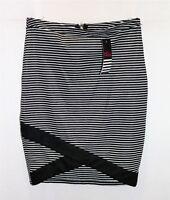 ALLY Brand Black White Stripe Asymmetric Hem Pencil Skirt Size 10 BNWT #TO103