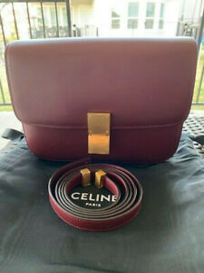 PreOwned Celine Medium Classic Box Bag Burgundy Red Include Receipt