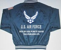 EGLIN AIR FORCE BASE* VALPARAISO-FL*AIR FORCE EMBROIDERED 2-SIDED SATIN JACKET
