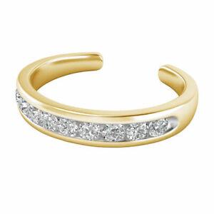 Women's Diamond Open Channel Set Adjustable Toe Ring 14K Yellow Gold Finish