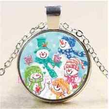Cute Snowman Christmas Cabochon Glass Tibet Silver Chain Pendant Necklace