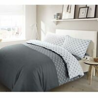 Paloma 100% Cotton Soft Duvet Cover Bedding Set Single Double Super King Grey