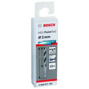 Bosch HSS  PointTeQ Drill Bit 2.0mm (10Pcs Pack) 2608577188- Metal/Wood/Plastic