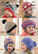 King Cole 3700 Knitting Pattern Childrens Hats in King Cole Aran