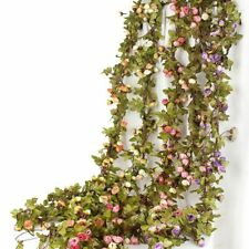 Ivy Small Roses Fake Flower Plastic Hanging Wall Green Plants Leaf Vine Garland