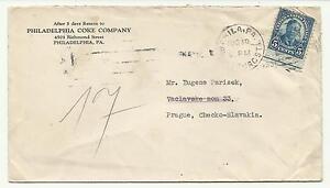 1931 4th Bureau #557 Philadelphia Coke Co Prague Czechoslovakia Foreign Usage