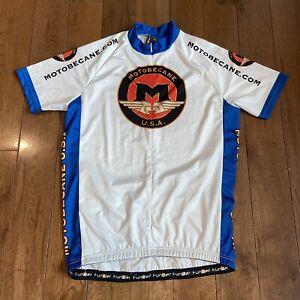 Mens Funkier USA Motobecane White Blue 1/2 Zip Cycling Jersey Polyester XXL