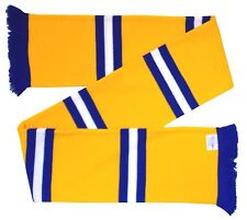 Leeds Supporters Gold, Royal Blue, and White Retro Bar Scarf - Made in the UK