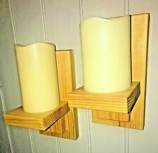 2 x WOODEN HANDMADE WALL MODERN STYLE SCONCE / CANDLE HOLDERS / SHELF