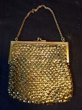 Old Vtg Collectible Gold Tone Sequin Pattern Bag Purse Wristlet