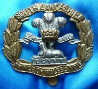 VINTAGE South Lancashire Regiment Prince of Wales Vols Cap Badge Genuine/Origina