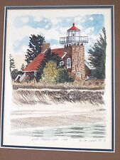 Lighthouse Painting T P Nagle Little Traverse Light watercolor ink Michigan