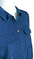 NEW Charter Club Women's Sz P XLarge Button Up Blue Blouse Long Sleeve Petite XL