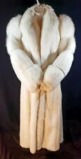 White Full Length Mink Coat with Shadow Fox Sleeves and Tuxedo - size 12