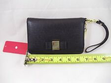 IVANKA TRUMP Blair Clutch Wristlet Wallet Black Tan Lining ITX406