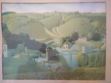 "GRANT WOOD MODERN MASTER NICE print ""STONE CITY IOWA"" OLDER REPRODUCTION"