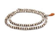 Grey Round Bone Mala Beads 10mm Nepal Large Hole 35 Inch Strand