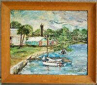 Signed Oil Painting on Masonite Sailboats Harbor Scene Seascape Nautical