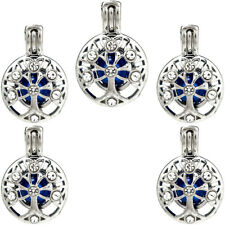Diffuser Pearl Locket Pendant Charm K929 (5 Pack) Silver Round Tree Beads Cage